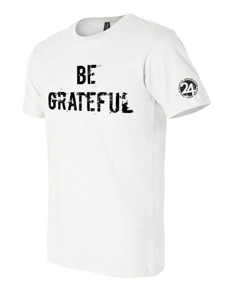 'BE GRATEFUL' Men's Classic T-Shirt White with Black | Sobriety T Shirt