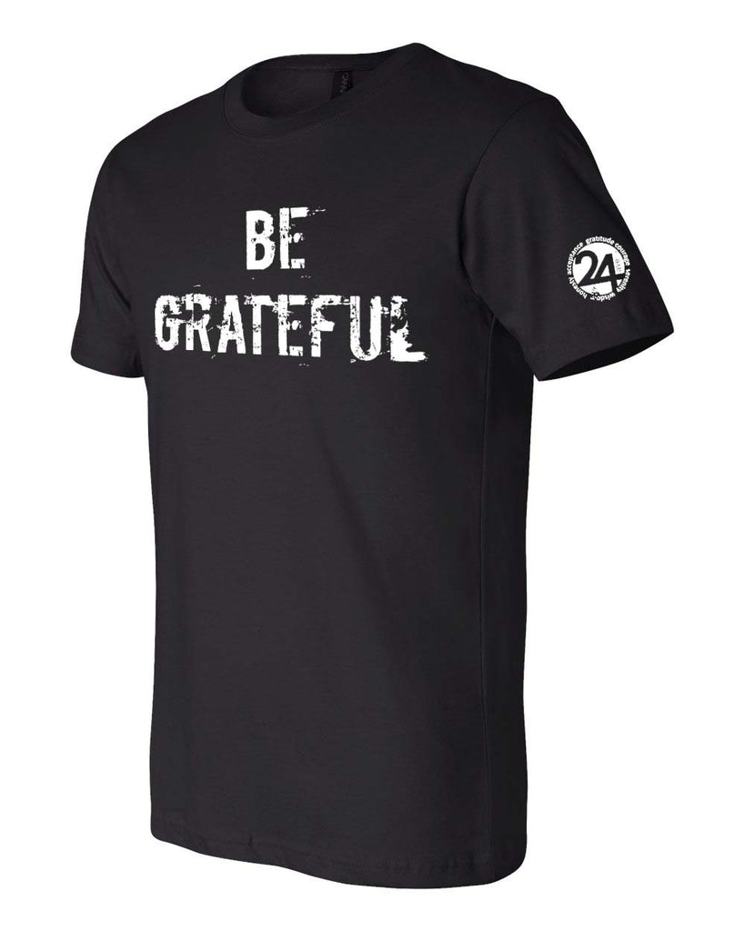 'BE GRATEFUL' Men's Classic T-Shirt Black with White | Sobriety T Shirt