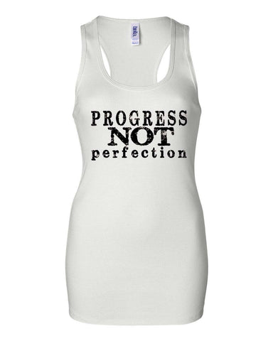 PROGRESS NOT PERFECTION Women's Bold Ribbed Tank T-Shirt / White with Black Print