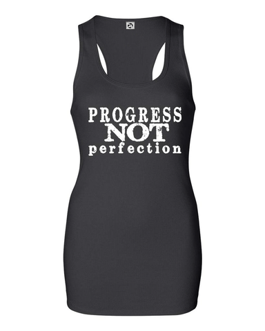 PROGRESS NOT PERFECTION Women's Bold Ribbed Tank | Inspirational Fashion