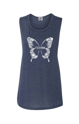 FREEDOM BUTTERFLY Flowy Scoop Neck Tank | Inspirational Fashion