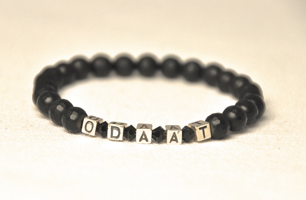 ODAAT (One Day at a Time) Onyx Sterling Recovery Word  Bracelet
