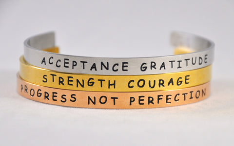 Set of 3 Tri-color Recovery Hand-Stamped Skinny Cuff Bracelets | Aluminum