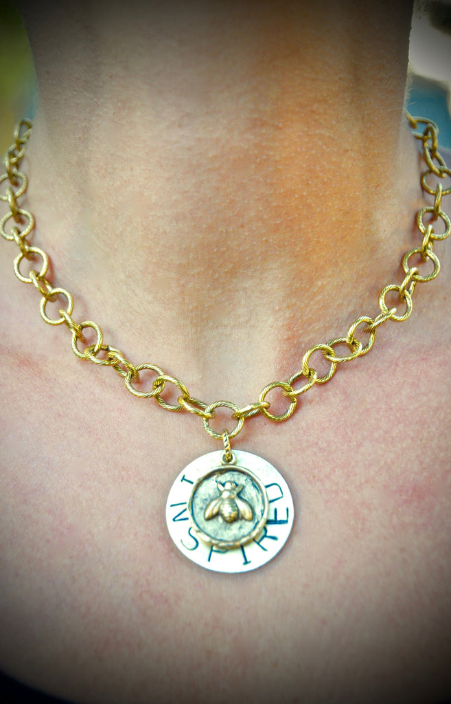 "16"" Round Link Chain 'BEE' / Lotus Necklace"
