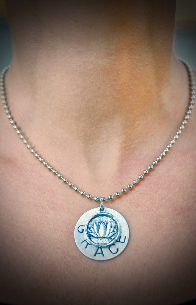 "16"" Ball Chain 'BEE'/ Lotus Necklace"