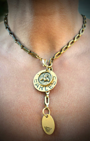 "20"" Bike Chain 'BEE' / Lotus Necklace"