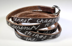Hand Cut Leather Serenity Wrap | Serenity Prayer