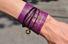 Hand Cut Leather Recovery Wrap | Serenity Prayer