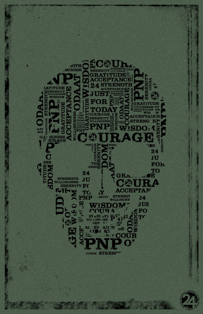 Skull Poster | Green & Black  | Recovery Gift