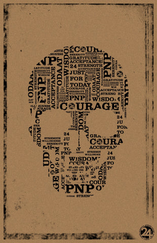 Skull Poster | Parchment & Black  | Recovery Gift