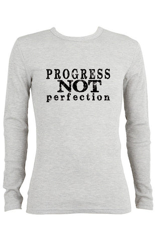 Progress Not Perfection Thermal long-sleeve Unisex T-shirt for Men | Gray
