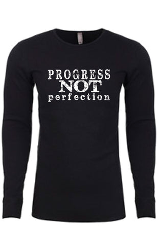 Progress Not Perfection Thermal long-sleeve Unisex T-shirt for Men | Black