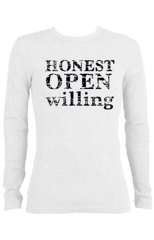 Honest Open Willing Thermal long-sleeve Unisex T-shirt for Men | White