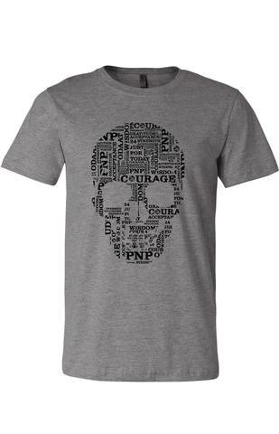 Skull Unisex Classic Recovery T-Shirt | Grey with Black Print