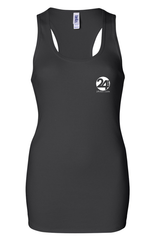ODDAT Women's Ribbed Recovery Tank | Black with White Print