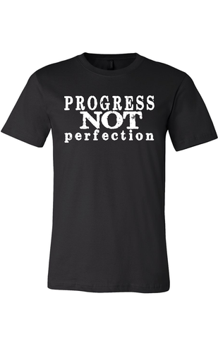 Progress Not Perfection Men's Classic T-Shirt Black with White | Sobriety T Shirt