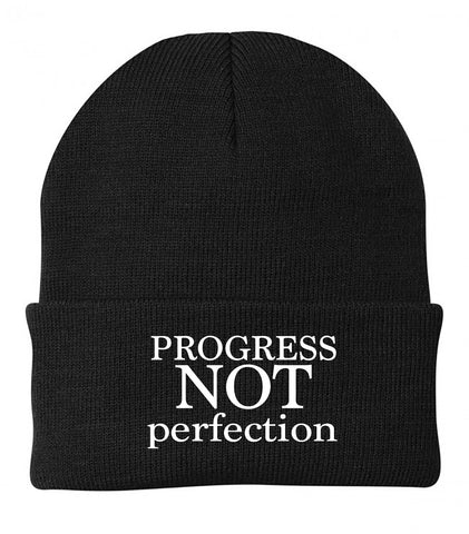 Cuffed Knit Recovery Beanie - Progress Not Perfection  by 24ave | Black