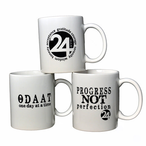 Ceramic Mugs - 3 Recovery Mug Set by 24ave | Odaat, Progress Not Perfection and 24ave Logo
