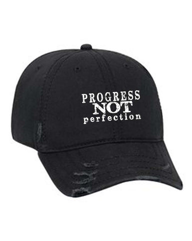 Progress NOT Perfection  Unisex Distressed Black Baseball Cap | Inspire