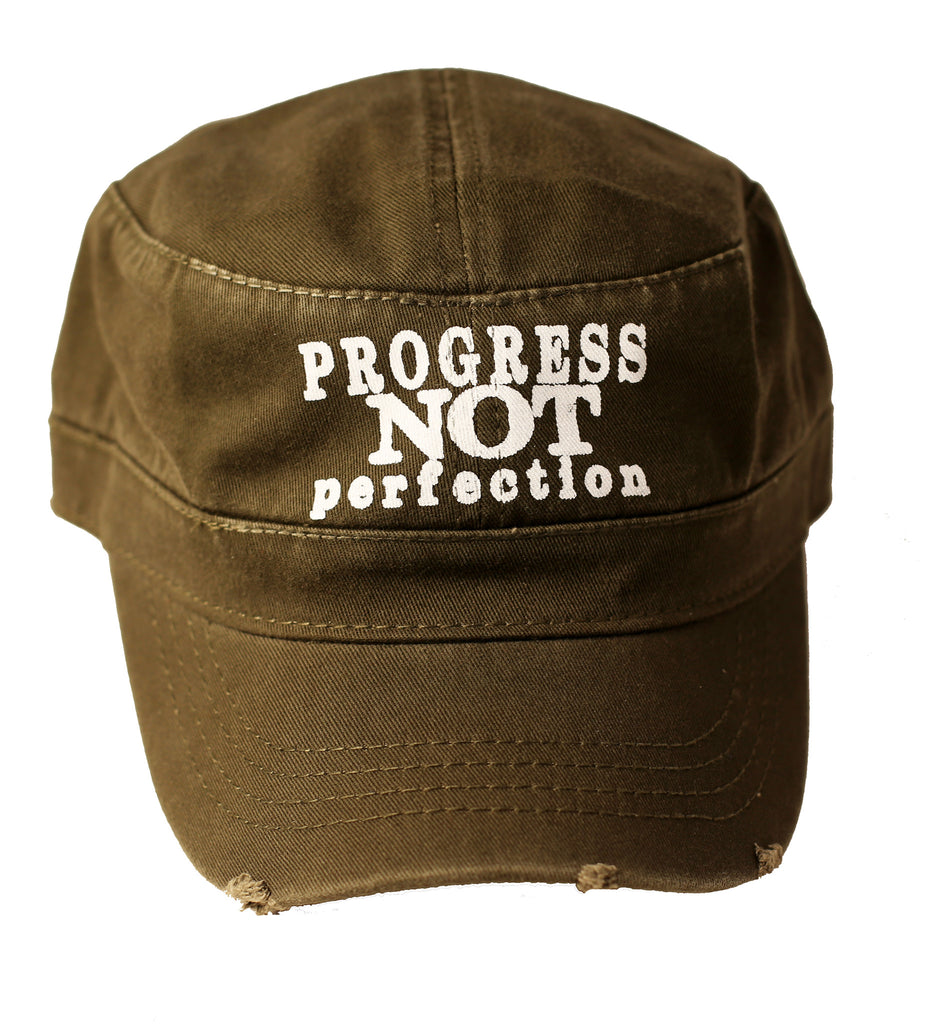 Progress Not Perfection Unisex Military Style Distressed Cotton Cap | Olive green