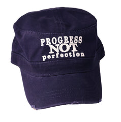 Progress Not Perfection Unisex Military Style Distressed Cotton Cap | Navy