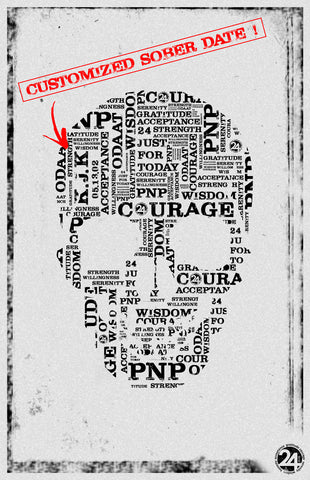 Skull Poster / Personalized with Initials & Sober Date | Recovery Gift