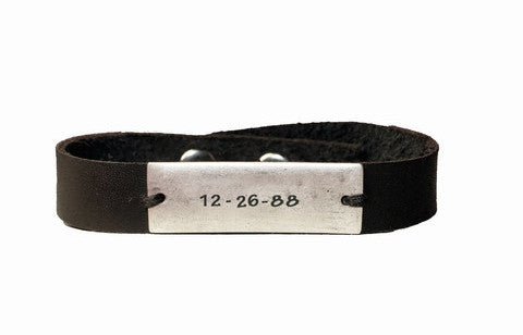 "1/2"" Leather Hand-Stamped  Personalized Bracelet 