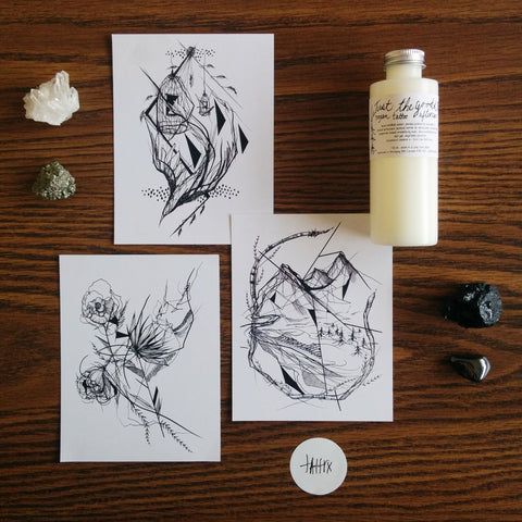 vegan tattoo collaboration with katakankabin and tattrx - postcard set and aftercare lotion