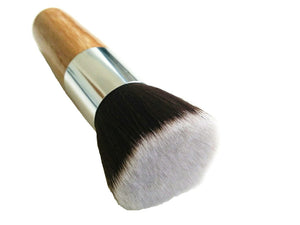 vegan flat top kabuki cosmetics brush with bamboo handle - just the goods handmade vegan crueltyfree nontoxic skincare
