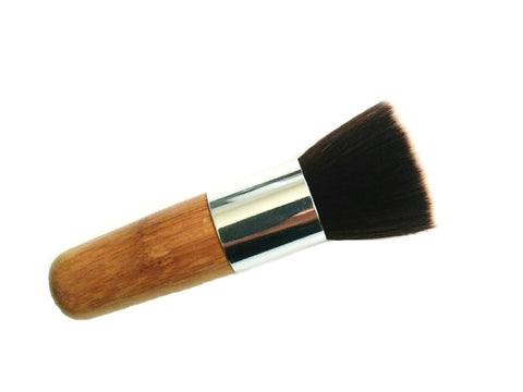 vegan flat top kabuki cosmetics brush with bamboo handle