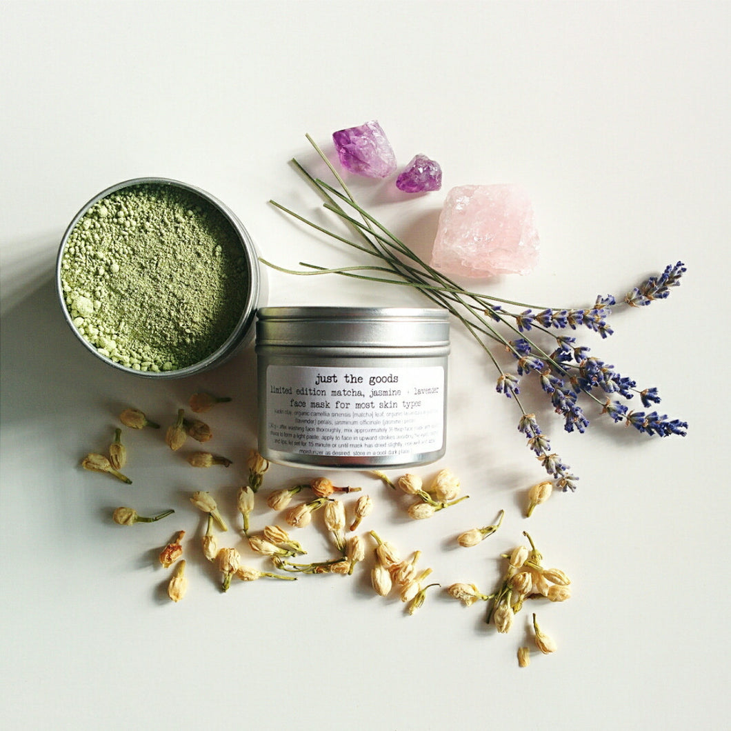 limited edition vegan matcha, lavender + jasmine facial mask for most skin types - just the goods handmade vegan crueltyfree nontoxic skincare