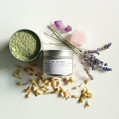 Just the Goods vegan matcha, lavender + jasmine facial mask for most skin types