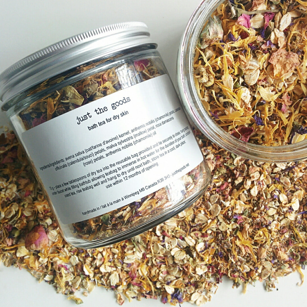 limited edition vegan bath tea for dry skin - oats, rose, calendula, malva + chamomile - just the goods handmade vegan crueltyfree nontoxic skincare