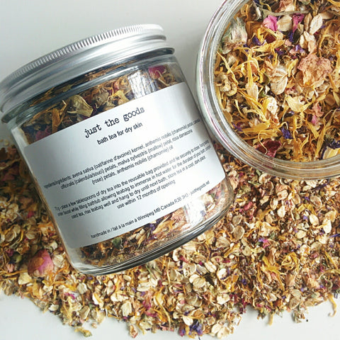 limited edition vegan bath tea for dry skin - oats, rose, calendula, malva + chamomile