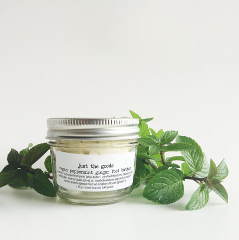 limited edition original vegan peppermint ginger foot butter - just the goods handmade vegan crueltyfree nontoxic skincare