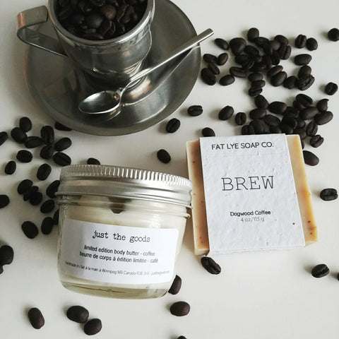 limited edition coffee body butter + Fat Lye Soap BREW duo - just the goods handmade vegan crueltyfree nontoxic skincare