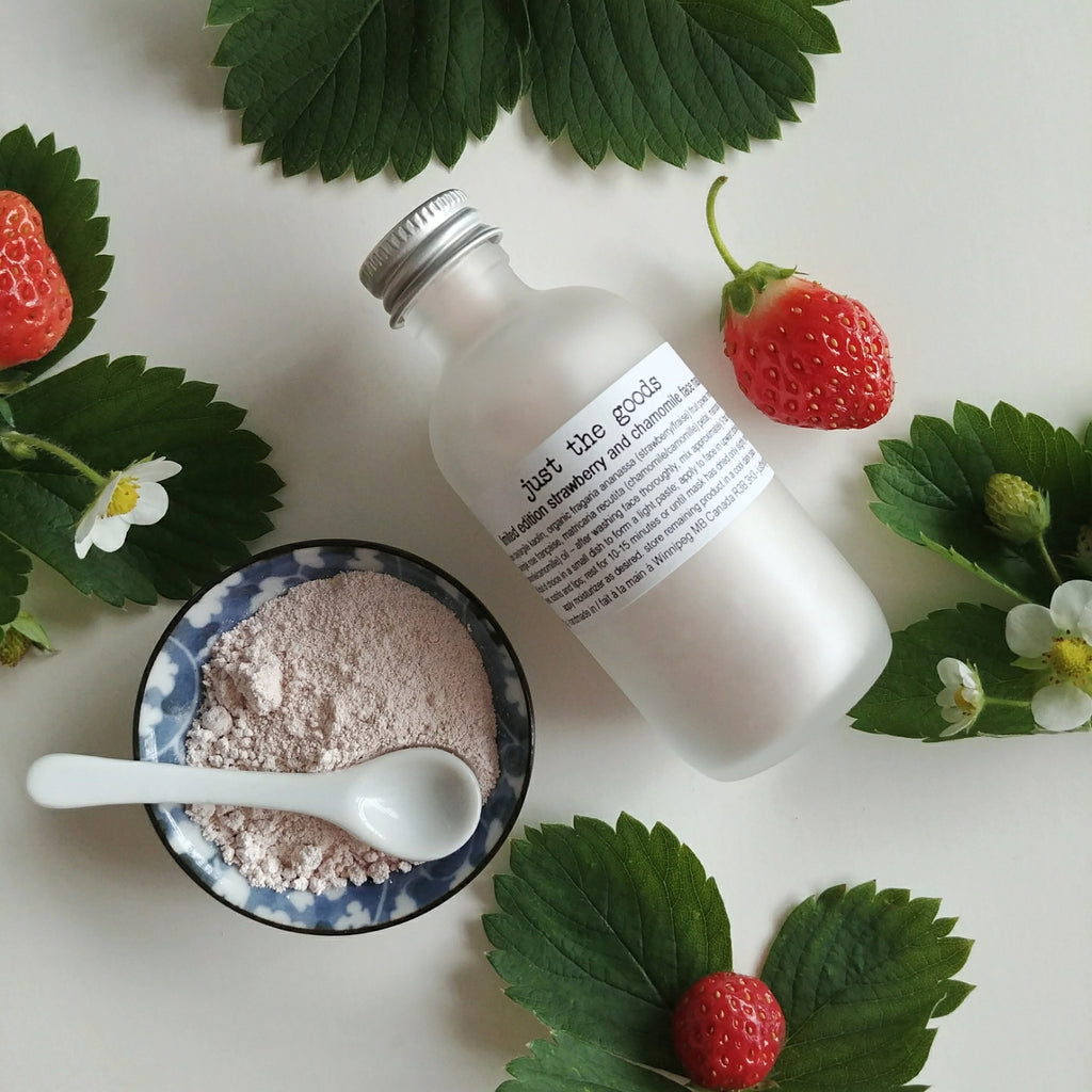 limited edition vegan strawberry + chamomile face mask for most skin types - just the goods handmade vegan crueltyfree nontoxic skincare