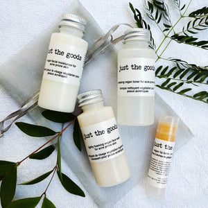 "Just the Goods ""about face"" vegan skin care sample kit - just the goods handmade vegan crueltyfree nontoxic skincare"
