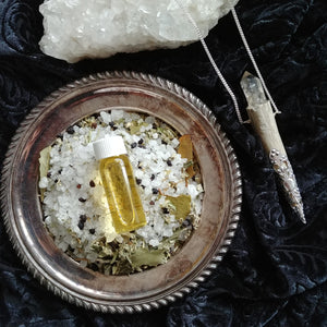 Limited Edition Ancestral Remembrance Set: Bath Salts, Ritual Perfume + Crystal and Fallen Antler Talisman