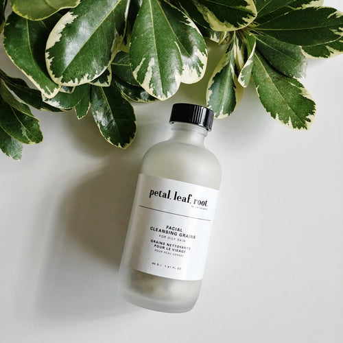 petal, leaf, root. by Just the Goods facial cleansing grains for oily skin