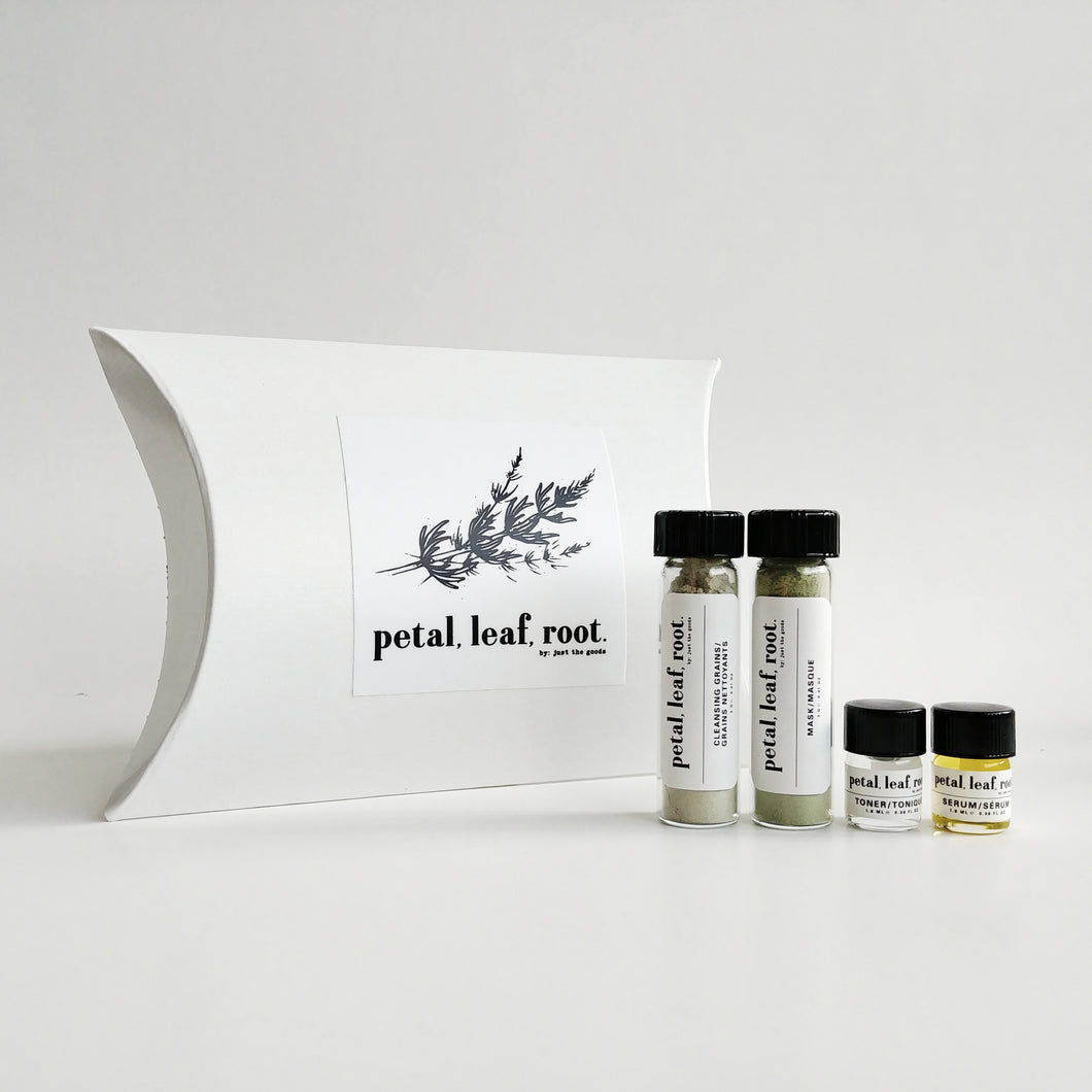 petal, leaf, root. by Just the Goods facial care for oily skin sample set