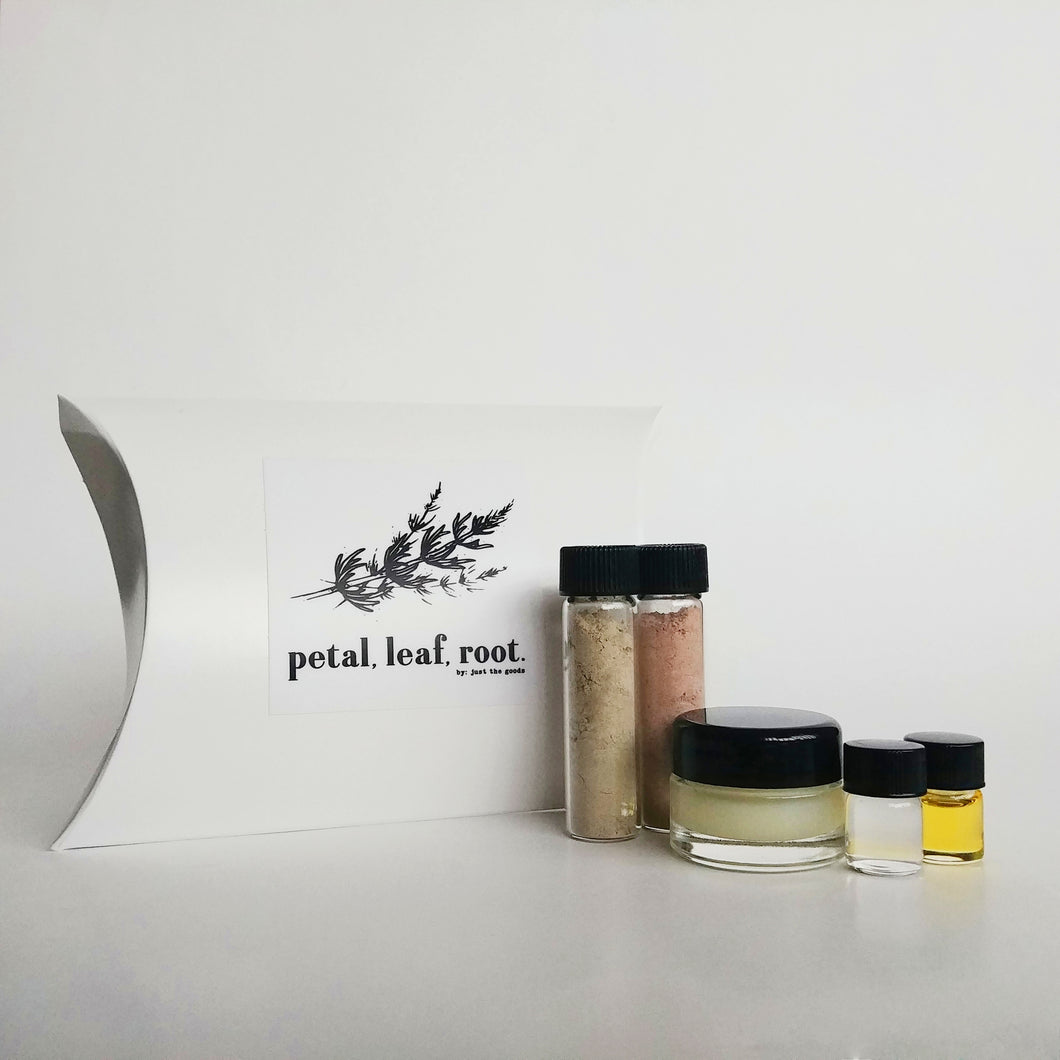 petal, leaf, root. by Just the Goods facial care for dry skin sample set