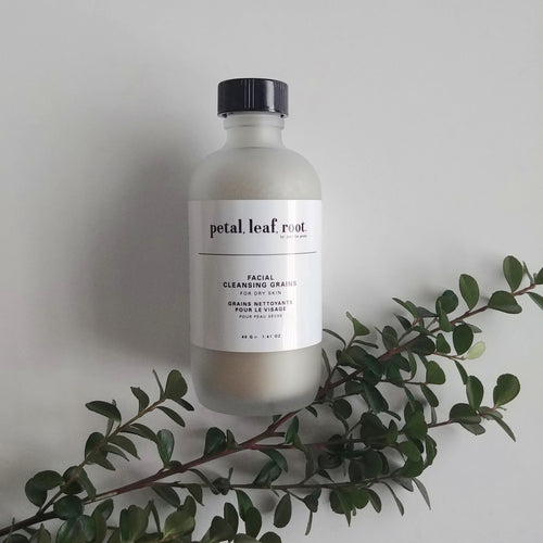 petal, leaf, root. by Just the Goods facial cleansing grains for dry skin