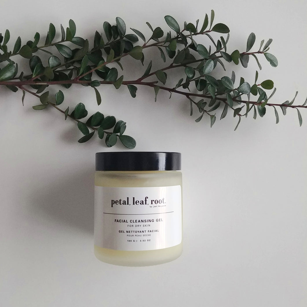 petal, leaf, root. by Just the Goods facial cleaning gel for dry skin