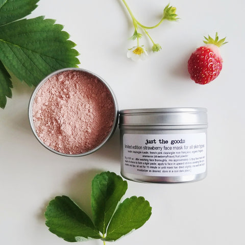 Just the Goods limited edition vegan strawberry face mask for all skin types