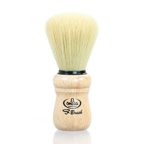 Omega Synthetic Vegan Shaving Brush with Beech Wood Handle - just the goods handmade vegan crueltyfree nontoxic skincare