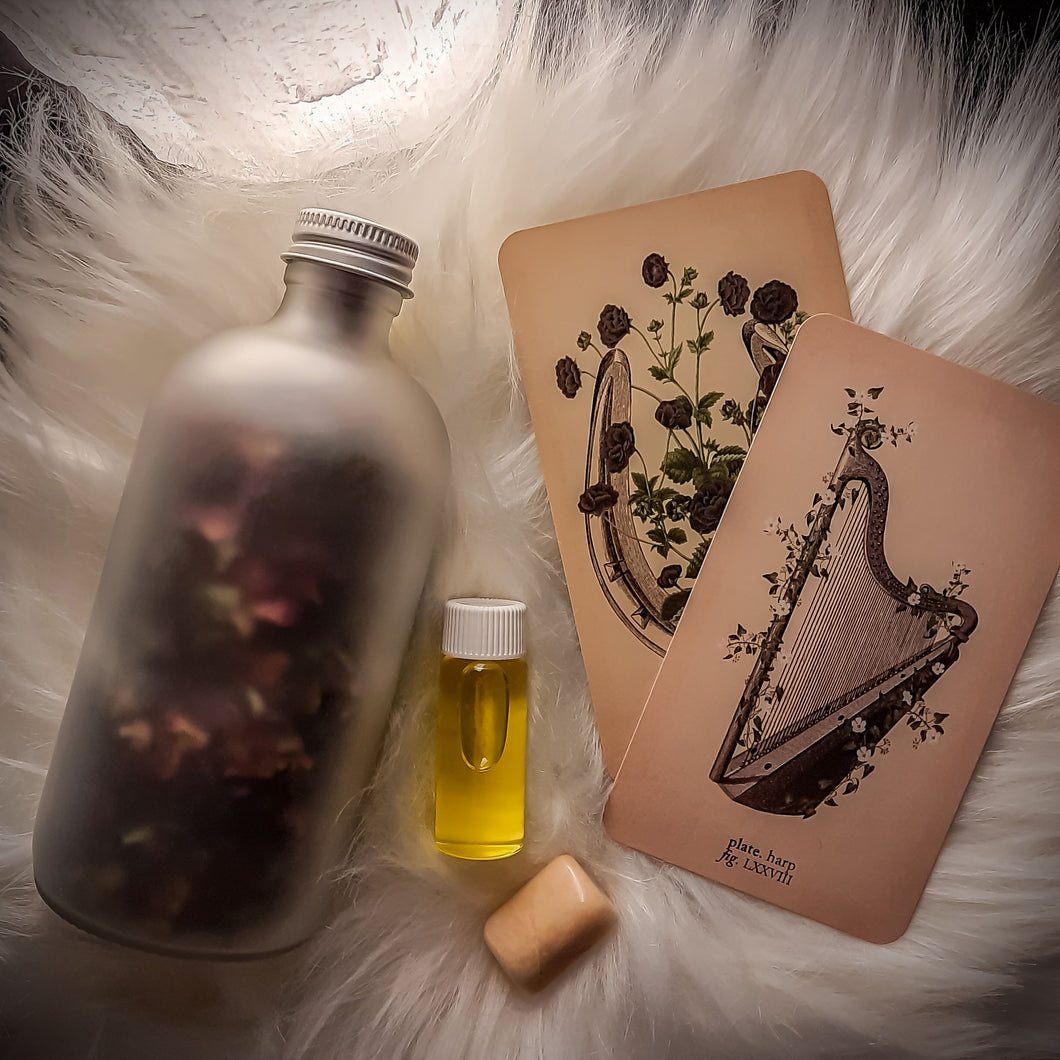 Just the Goods limited edition midnight magic bath salts, perfume oil, and moonstone