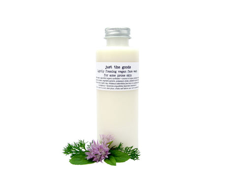 Just the Goods vegan face wash for acne prone skin