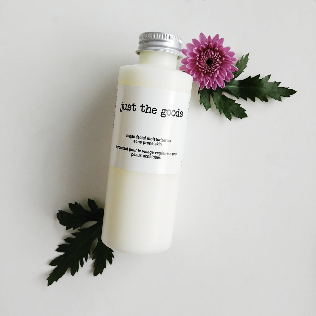 Just the Goods vegan facial moisturizer for acne prone skin