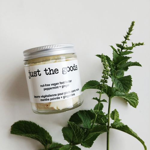 Just the Goods vegan nut-free peppermint ginger foot butter with olive oil